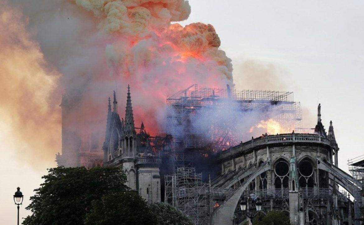 Cathedral of Notre-Dame of Paris on fire